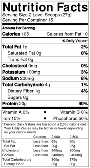 PLAIN Soy Protein Shake Nutritional Info