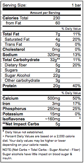 Low-Carb Autumn Apple FROST Bar Nutritional Info
