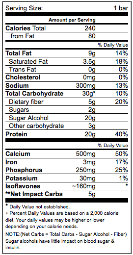 Low-Carb Chocolate Peanut PARADISE Bar Nutritional Info