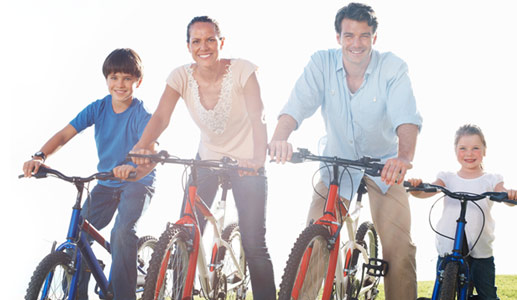 Family on bikes, heart healthy from soy